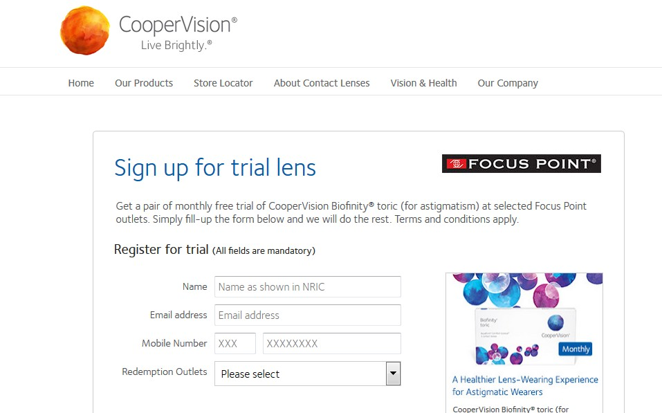 A Pair of Monthly Free Trial of CooperVision Biofinity® Toric