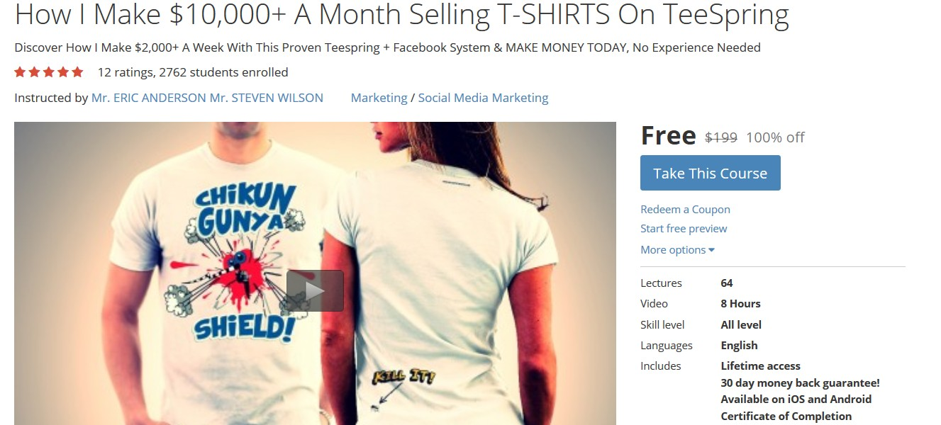 Free udemy course on how i make 10 000 a month selling for Selling t shirts on facebook