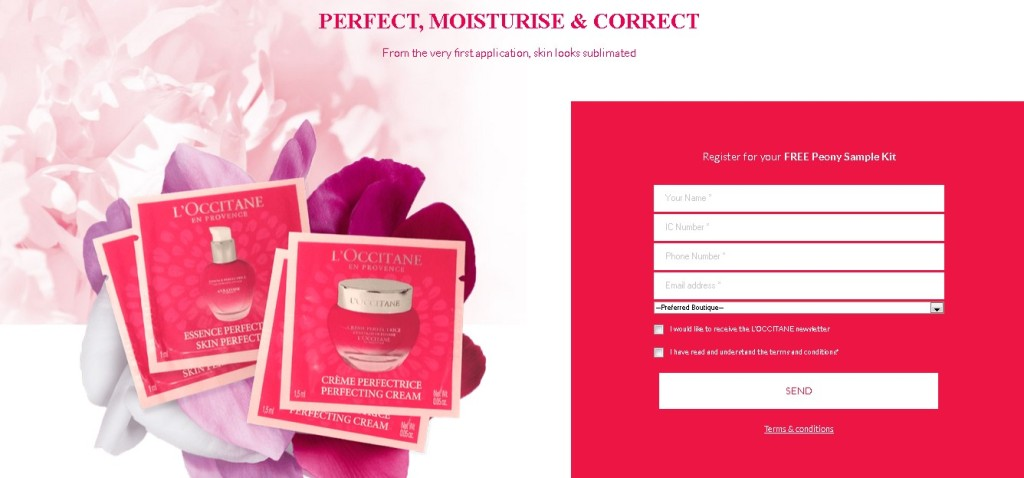 FREE Peony Sample Kit at L'OCCITANE Malaysia 1