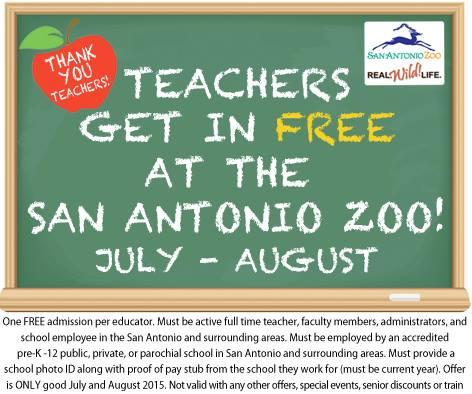 Free Entry to San Antonio Zoo for Teachers