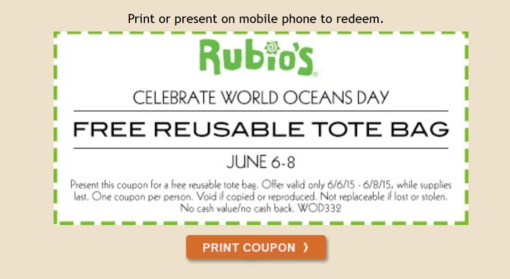 Free Reuseable Tote Bag at Rubio's1