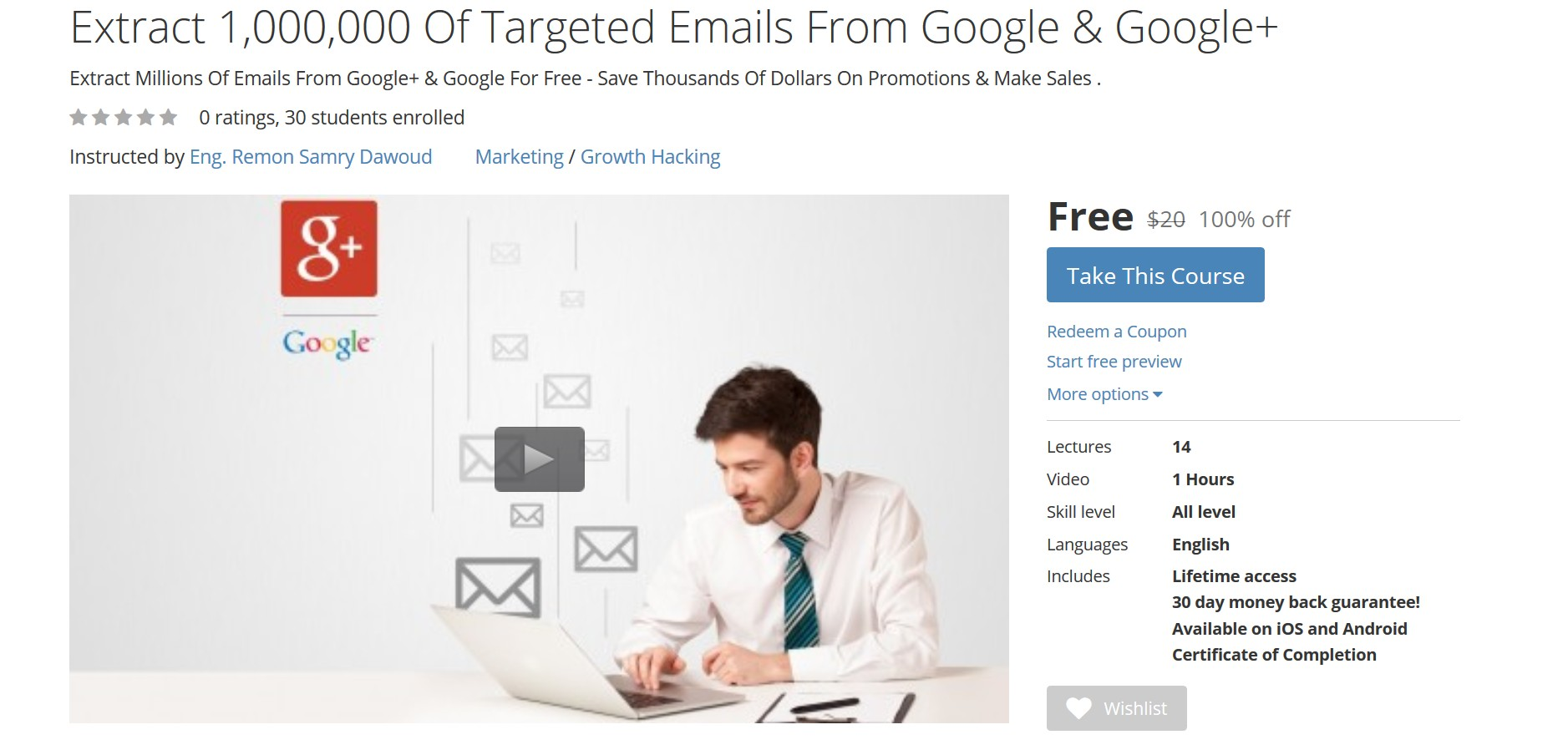 Free Udemy Course: Extract 1,000,000 Of Targeted Emails From