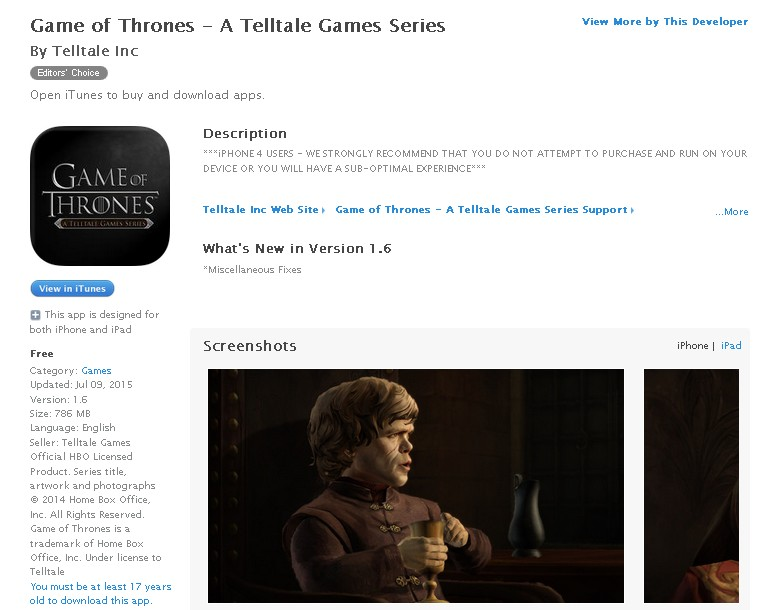 Free @ iTunes Game of Thrones - A Telltale Games Series