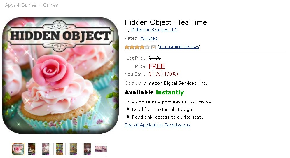 Free Android App at Amazon Hidden Object - Tea Time 2