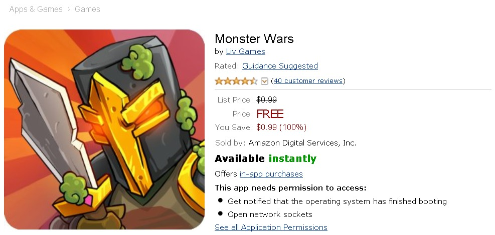 Free Android App at Amazon Monster Wars