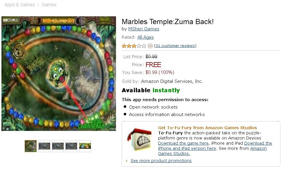Free Android Game @ Amazon Marbles TempleZuma Back