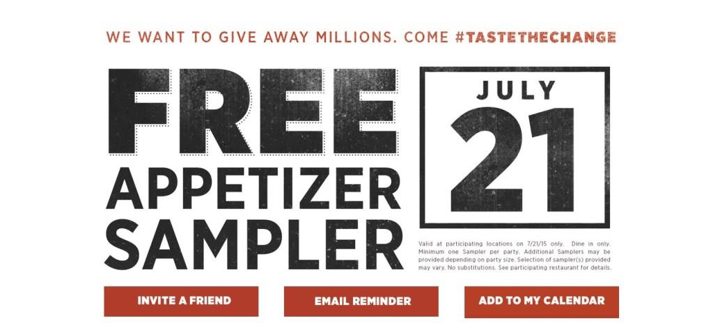 Free Appetizer Sampler at Applebees
