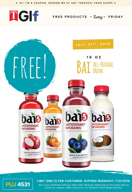 Free Bai5 Antioxidant Indusions at Tedeschi Food Shop USA