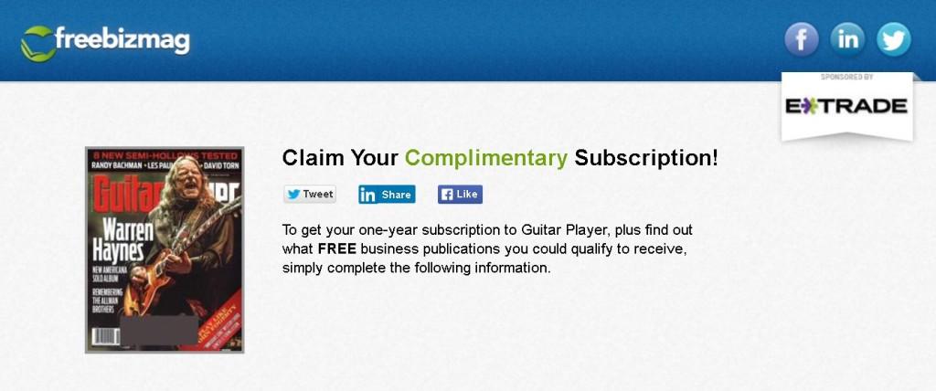 Free Guitar Player Magazine at FreeBizMag Form