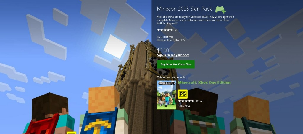 Free Minecon 2015 Skin Pack at XBox
