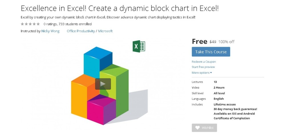 Free Udemy Course Excellence in Excel! Create a dynamic block chart in Excel!  1