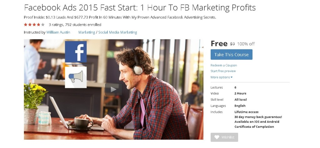 Free Udemy Course on Facebook Ads 2015 Fast Start 1 Hour To FB Marketing Profits