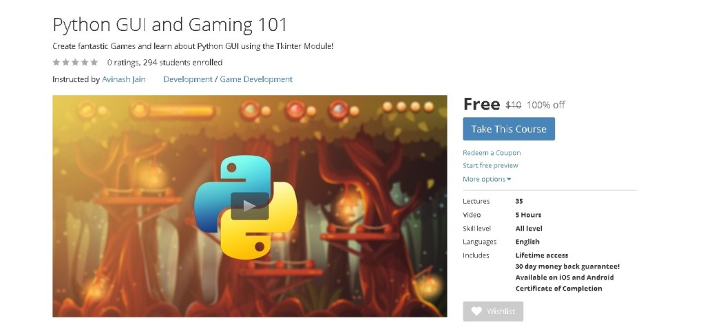 Free Udemy Course on Python GUI and Gaming 101
