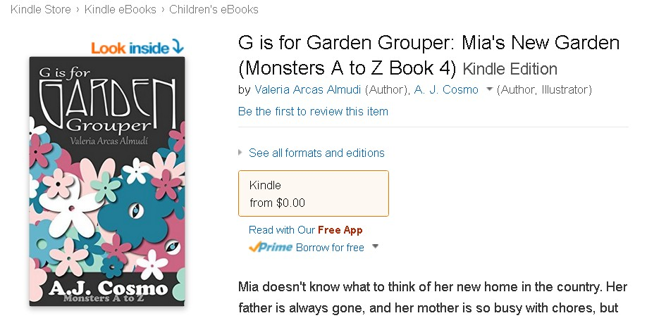 Free eBook at Amazon G is for Garden Grouper