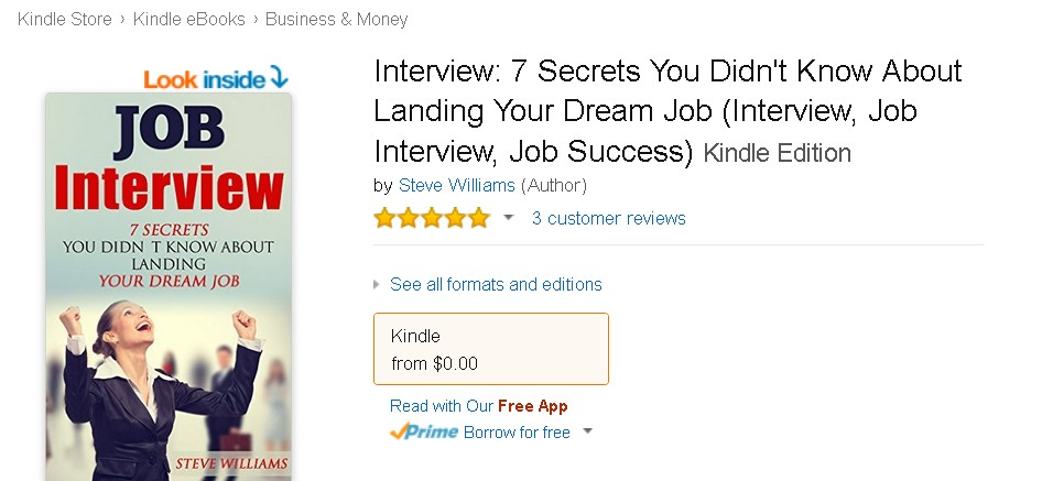 Free eBook at Amazon Interview 7 Secrets You Didn't Know About Landing Your Dream Job