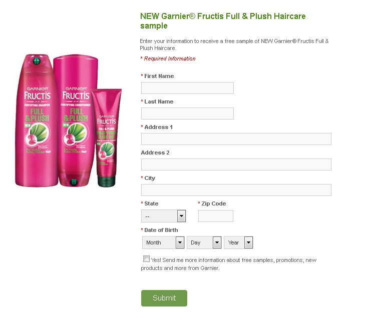NEW Garnier® Fructis Full & Plush Haircare sample 1