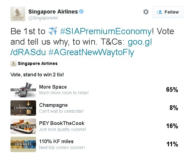 Vote, Comment and Win at Singapore Airine