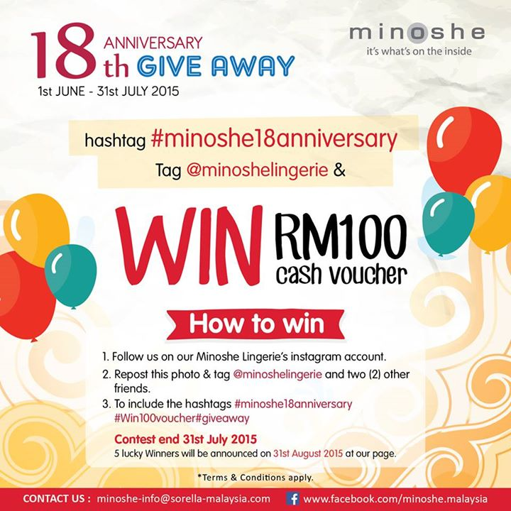 Win RM100 Cash Voucher at Minoshe Lingerie Malaysia