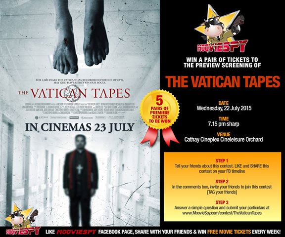 Win a pair of tickets to the preview screening of THE VATICAN TAPES at MoovieSpy Singapore