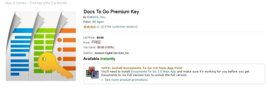FREE Android App at Amazon Docs To Go Premium Key 1