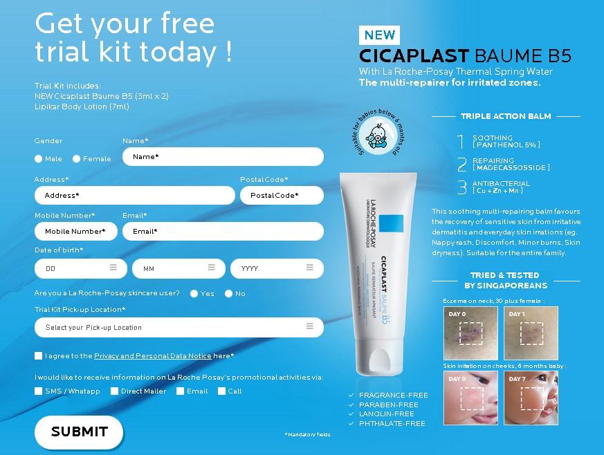 FREE CICAPLAST BAUME B5 Trial Kit at Laroche-Posay Singapore 1