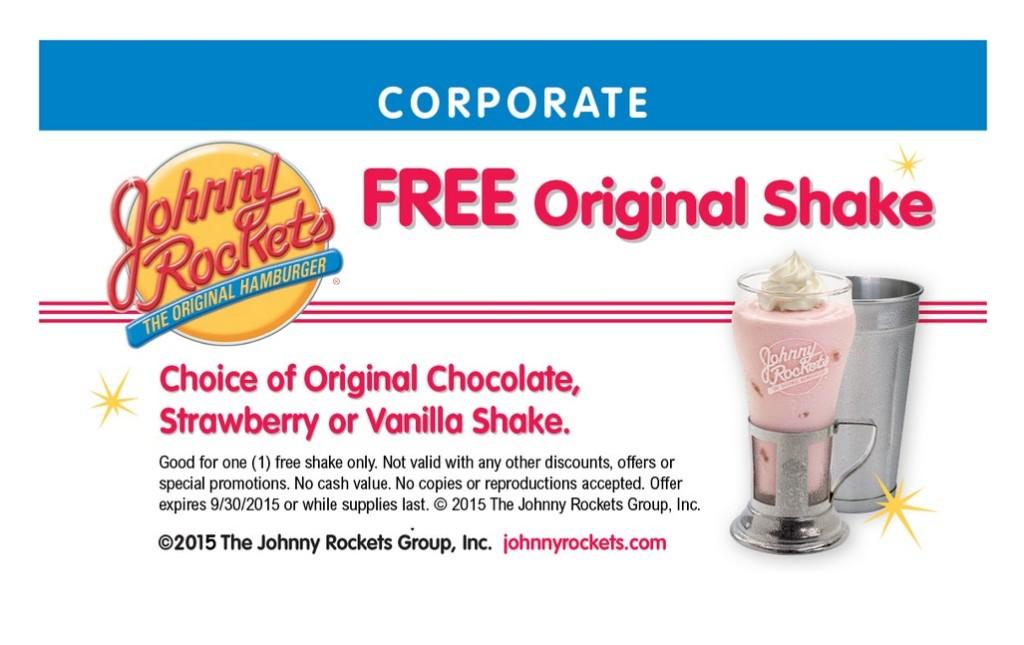 FREE Johnny Rockets Original Chocolate, Strawberry or Vanilla Shake