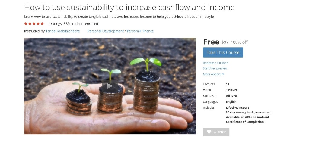 FREE Udemy Course on How to use sustainability to increase cashflow and income