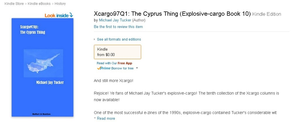 FREE ebook at Amazon Xcargo97Q1 The Cyprus Thing (Explosive-cargo Book 10) 1
