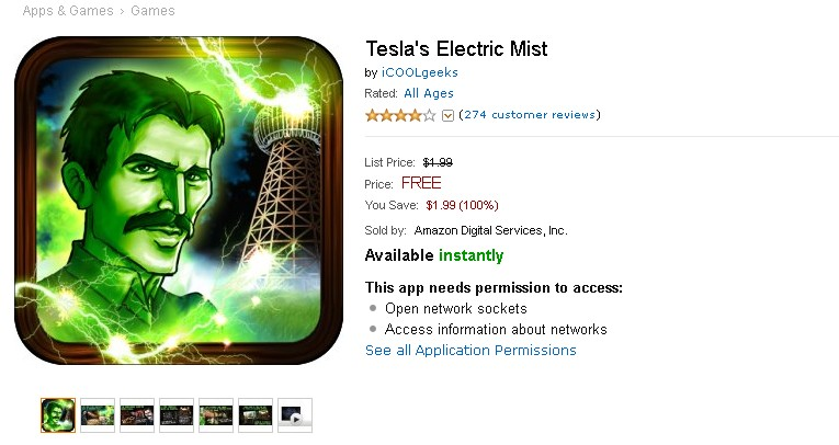Free Android App at Amazon Tesla's Electric Mist
