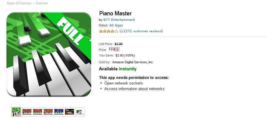 Free Game at Amazon Piano Master