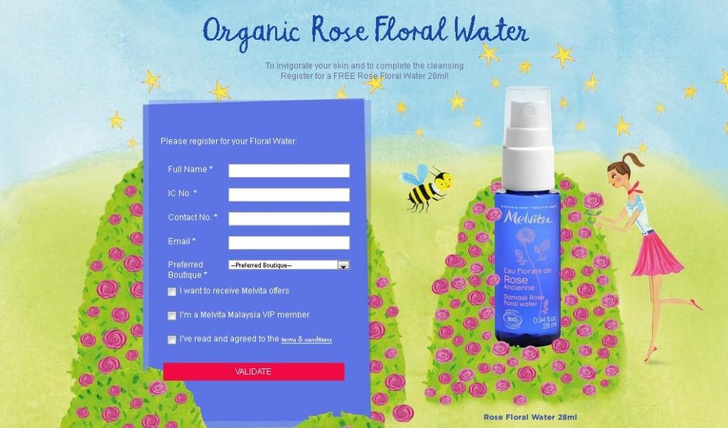 Free Melvita Organic Rose Floral Water 28ml