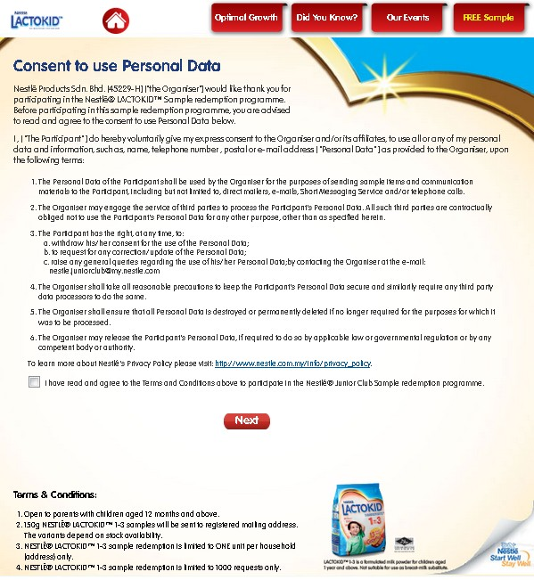 Free Nestlé® LACTOKID™ Sample redemption 1