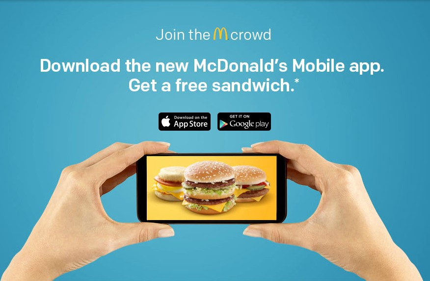 Free Sandwich at McDonald's Mobile App