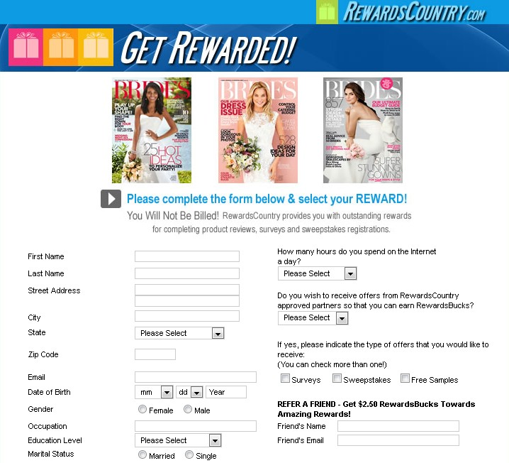 Free Subscription to Brides Magazine