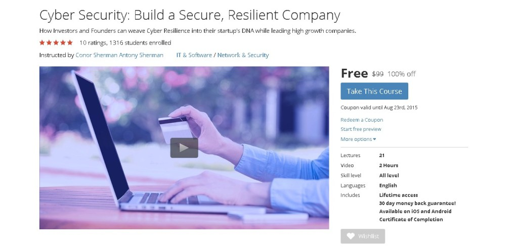 Free Udemy Course on Cyber Security Build a Secure, Resilient Company