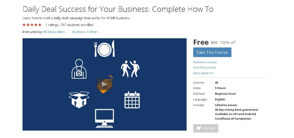 Free Udemy Course on Daily Deal Success for Your Business Complete How To