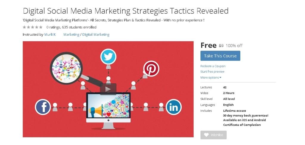 Free Udemy Course on Digital Social Media Marketing Strategies Tactics Revealed
