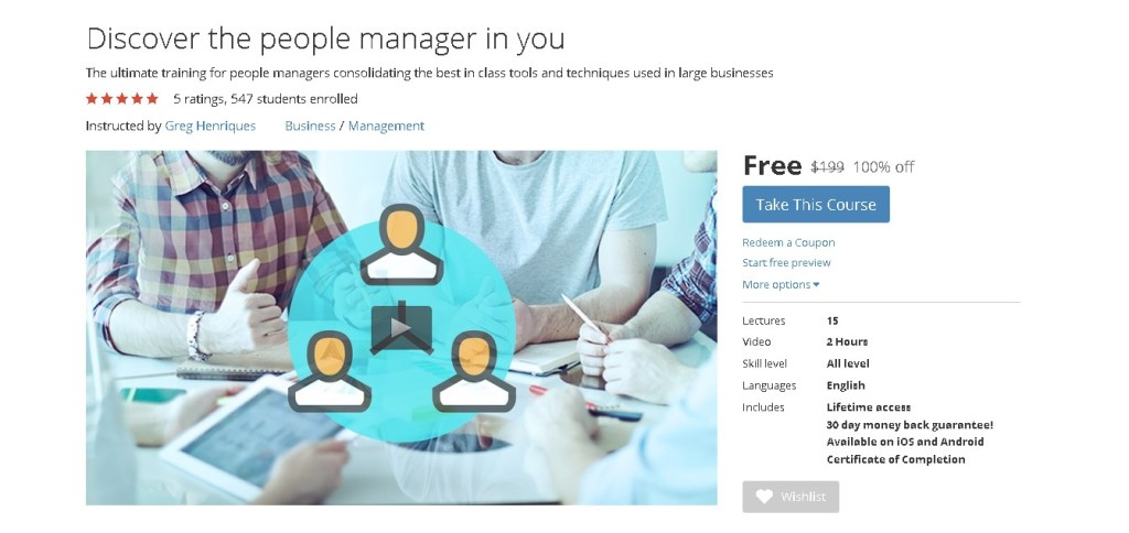Free Udemy Course on Discover the people manager in you