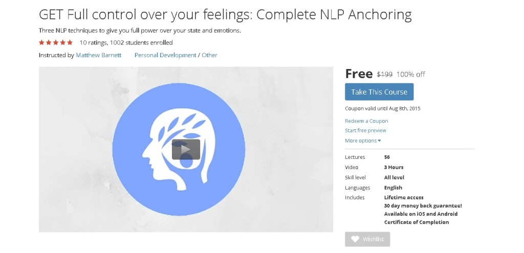 Free Udemy Course on GET Full control over your feelings Complete NLP Anchoring