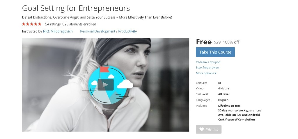 Free Udemy Course on Goal Setting for Entrepreneurs 1