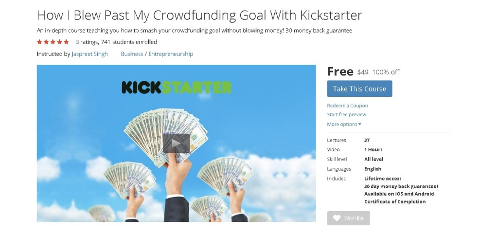 Free Udemy Course on How I Blew Past My Crowdfunding Goal With Kickstarter