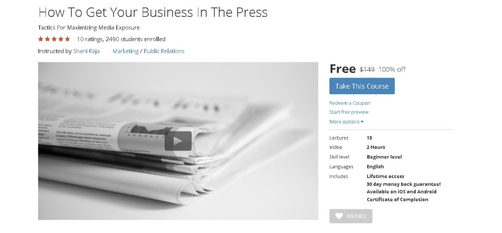 Free Udemy Course on How To Get Your Business In The Press