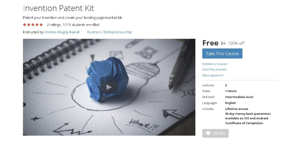Free Udemy Course on Invention Patent Kit