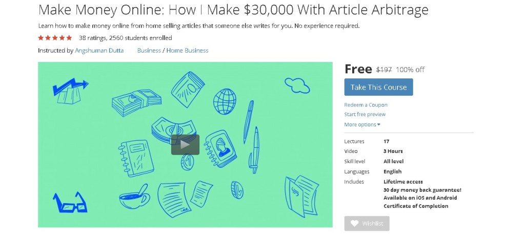 Free Udemy Course on Make Money Online How I Make $30,000 With Article Arbitrage