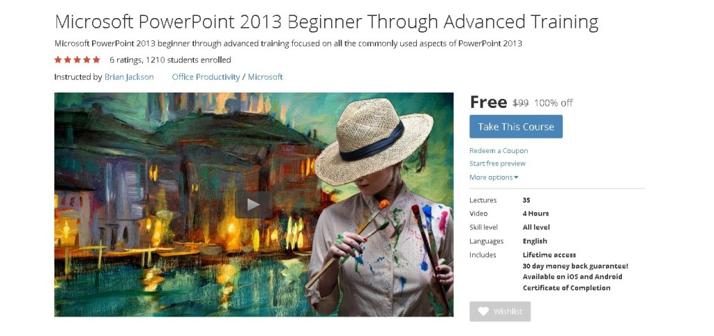 Free Udemy Course on Microsoft PowerPoint 2013 Beginner Through Advanced Training