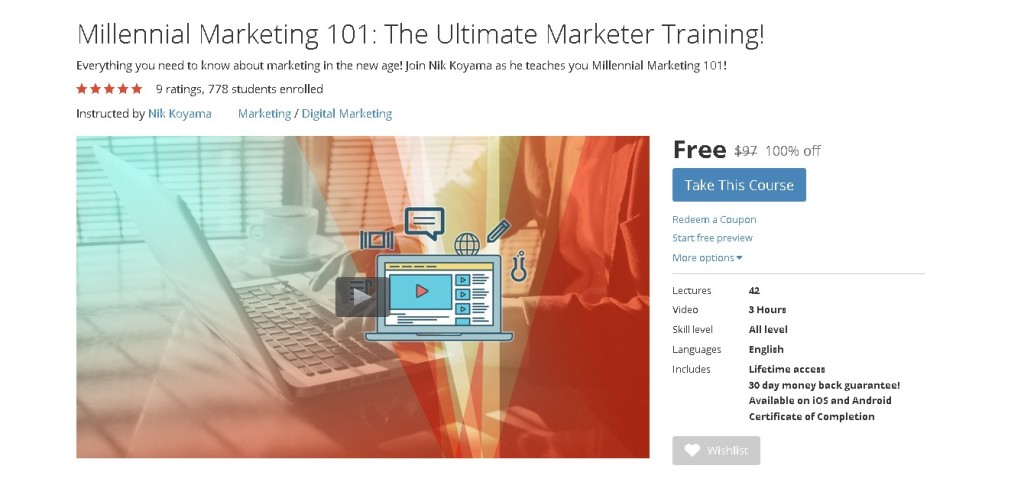 Free Udemy Course on Millennial Marketing 101 The Ultimate Marketer Training!