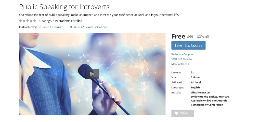 Free Udemy Course on Public Speaking for Introverts