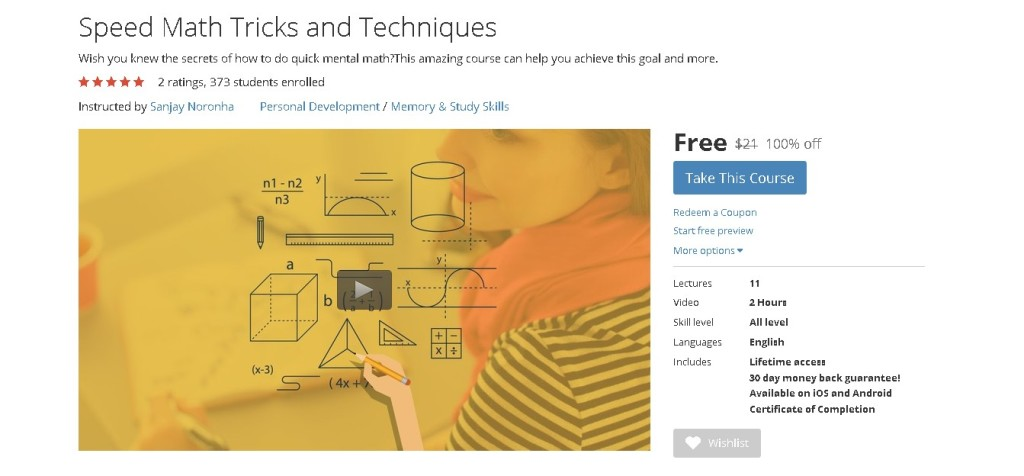 Free Udemy Course on Speed Math Tricks and Techniques