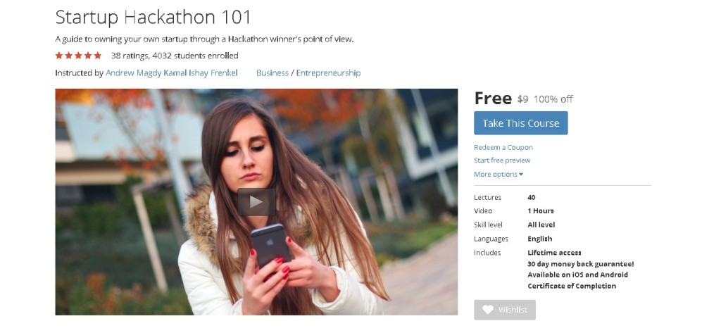 Free Udemy Course on Startup Hackathon 101