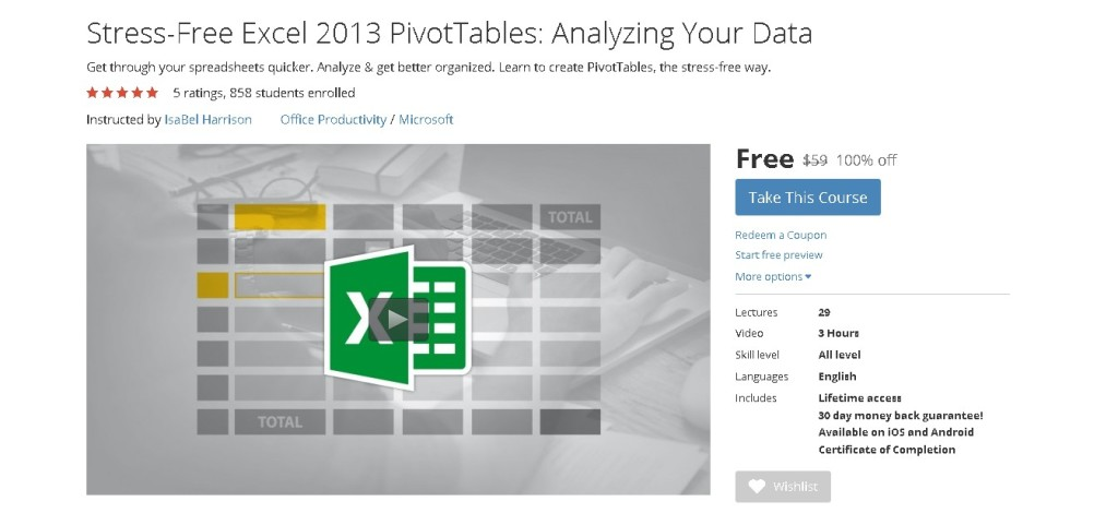 Free Udemy Course on Stress-Free Excel 2013 PivotTables Analyzing Your Data 1